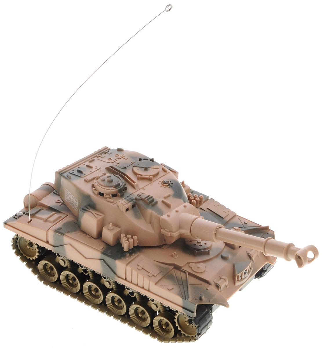 Junfa Toys Танк на радиоуправлении Super Power Panzer5892jЭффектный танк на радиоуправлении Junfa Toys Super Power Panzer понравится каждому мальчишке, который интересуется военной техникой. Стремительно прорываясь вперед сквозь препятствия, танк издает реалистичные звуки работающего мотора, а во время стрельбы у него загорается огонек в дуле пушки и раздаются звуки мощного выстрела. Игрушка работает от пульта управления и может не только передвигаться назад, вперед, налево и направо, но и поворачивать пушку. Пульт управления работает на частоте 27 MHz. Выглядит модель на удивление реалистично, а уровень ее детализации поражает воображение. Радиоуправляемые игрушки способствуют развитию координации движений, моторики и ловкости. Для работы танка необходимо купить 4 батарейки напряжением 1,5V типа АА (не входят в комплект); для работы пульта управления необходимо купить 2 батарейки напряжением 1,5V типа АА (не входят в комплект).