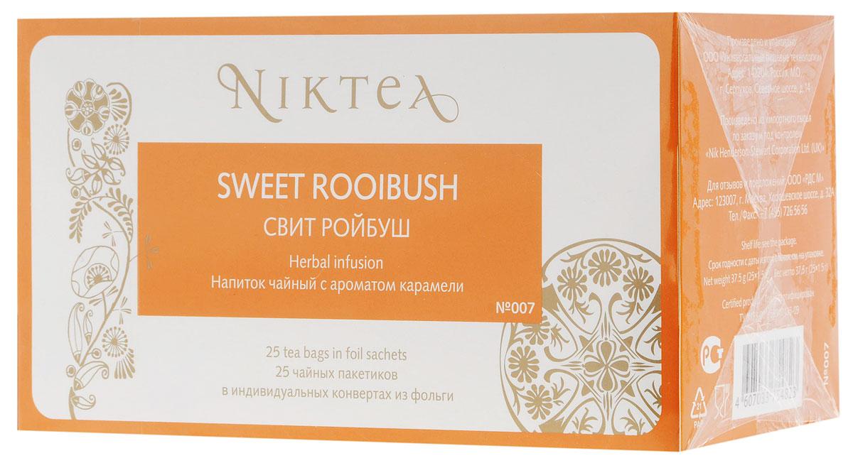 Niktea Sweet Rooibush чай травяной в пакетиках, 25 штTALTHA-BP0014Niktea Sweet Rooibush - бархатистый вечерний напиток с ароматом нежнейший карамели. Идеально сочетается с десертами. NikTea следует правилу качество чая - это отражение качества жизни и гарантирует: Тщательно подобранные рецептуры в коллекции топовых позиций-бестселлеров. Контролируемое производство и сертификацию по международным стандартам. Закупку сырья у надежных поставщиков в главных чаеводческих районах, а также в основных центрах тимэйкерской традиции - Германии и Голландии. Постоянство качества по строго утвержденным стандартам. NikTea - это два вида фасовки - линейки листового и пакетированного чая в удобной технологичной и информативной упаковке. Чай обладает многофункциональным вкусоароматическим профилем и подходит для любого типа кухни, при этом постоянно осуществляет оптимизацию базовой коллекции в соответствии с новыми тенденциями чайного рынка. Фильтр-бумага для пакетированного чая NikTea...