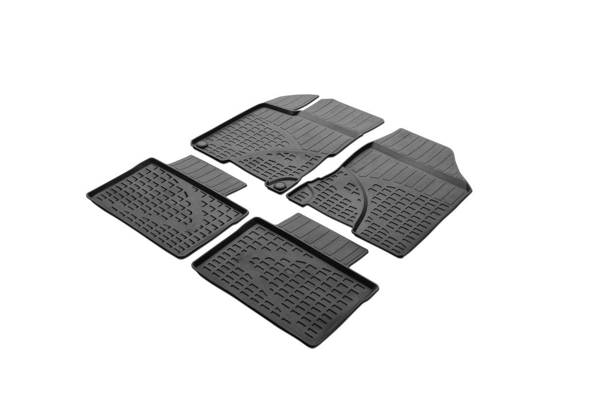 Набор автомобильных ковриков Rival, для Lada Vesta седан 2015-, в салон, с перемычкой, 4 шт0066002001Автомобильные коврики Rival изготовлены из высококачественного и экологичного сырья с использованием технологии высокоточного литья под давлением. Коврики полностью повторяют геометрию салона вашего автомобиля. - Усиленная зона подпятника под педалями защищает наиболее подверженную истиранию область. - Надежная система крепления, позволяющая закрепить коврик на штатные элементы фиксации, в результате чего отсутствует эффект скольжения по салону автомобиля. - Высокая стойкость поверхности к стиранию. - Специализированный рисунок и высокий борт, препятствующие распространению грязи и жидкости по поверхности ковра. - Перемычка задних ковров в комплекте предотвращает загрязнение тоннеля карданного вала. - Коврики произведены из первичных материалов, в результате чего отсутствует неприятный запах в салоне автомобиля. - Высокая эластичность материала позволяет беспрепятственно эксплуатировать коврики при температуре от -45°C до +45°C.