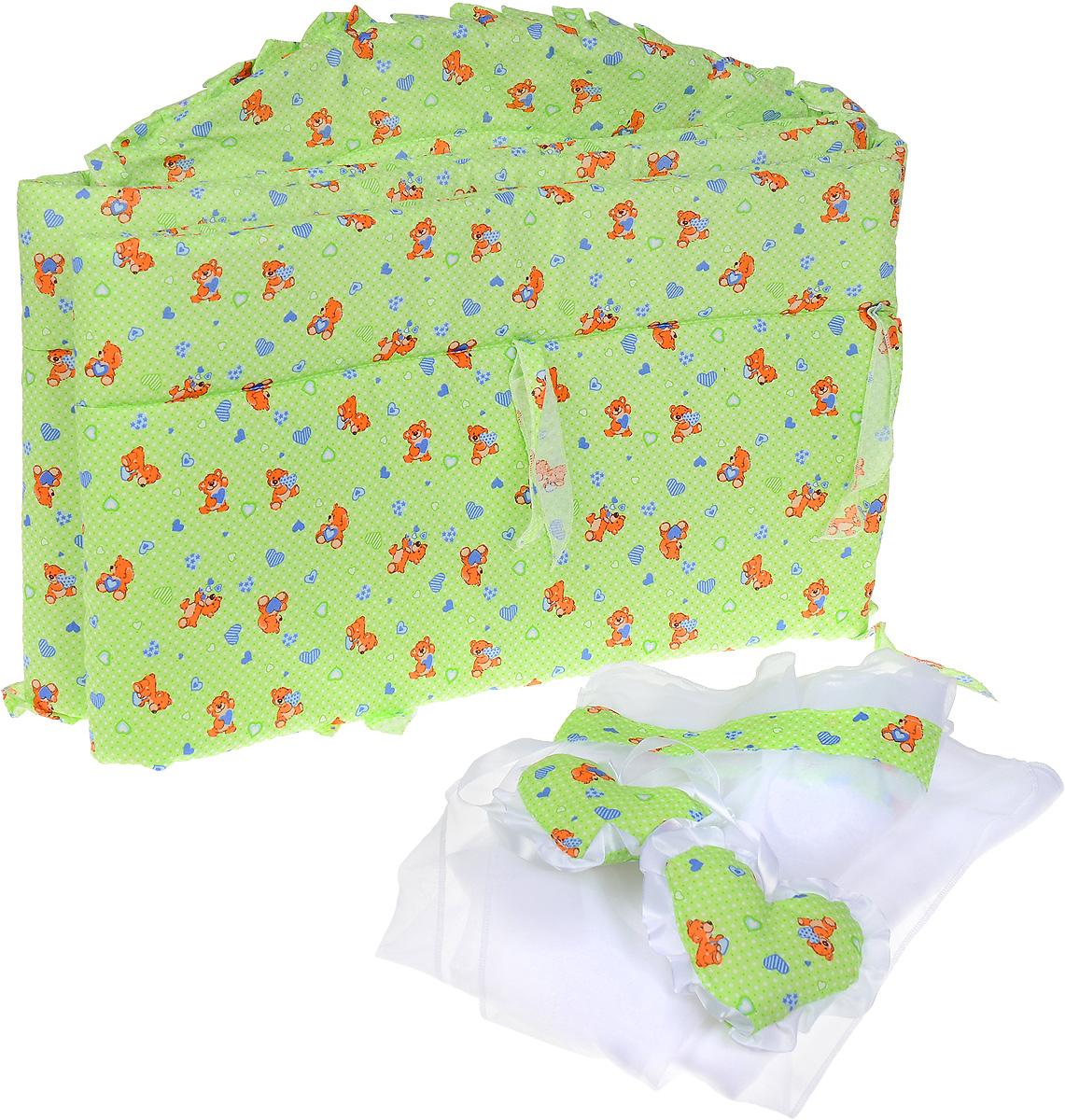 Фея Комплект для детской кроватки Мишки с сердечками 2 предмета1047_салатовыйКомплект для детской кроватки Фея Мишки с сердечками, выполненный из хлопка и полиэфира, включает в себя борт и балдахин для детской кроватки. Бортик закрывает весь периметр кроватки и крепится с помощью специальных завязок, благодаря чему его можно поместить в любую детскую кроватку. Выполнен натурального хлопка безупречной выделки. Деликатные швы рассчитаны на прикосновение к нежной коже ребенка. Бортик оформлен изображениями забавных плюшевых медвежат с сердечками. Балдахин, выполненный из полиэстера, можно использовать как для люльки, так и для кроватки. Сверху балдахин декорирован вставкой из хлопка с рисунком, а также двумя атласными лентами с мягкими игрушками в виде сердечек. Длина бортика - 360 см, размеры балдахина - 250 см х 150 см.