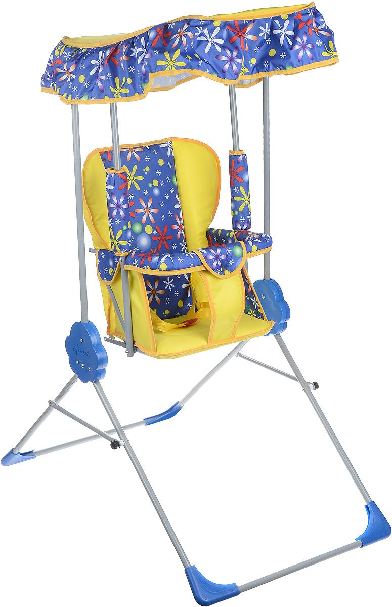 Фея Качели детские Малыш с тентом цвет синий желтый4289_синий, желтыйДетские качели Фея Малыш приведут в восторг любого маленького непоседу! Качели предназначены для развлечения и развития вестибулярного аппарата малышей. Качели выполнены из металла и имеют складную конструкцию, благодаря чему их удобно транспортировать и хранить. Сиденье имеет спинку и оснащено металлической планкой безопасности, которая не позволит малышу соскользнуть с сиденья. Сиденье дополнено съемным мягким чехлом, который оформлен забавными рисунками и оснащен ремнем безопасности. Качели также оборудованы съемным тентом из водоотталкивающей ткани, который надежно защитит вашего малыша от солнца и легкого дождя. Качели доставят массу удовольствия вашему малышу, они невероятно просты и удобны в использовании. В сложенном состоянии качели очень компактны и занимают мало места, поэтому их можно брать с собой на природу или в поездку. Предельно допустимая нагрузка составляет 15 кг.