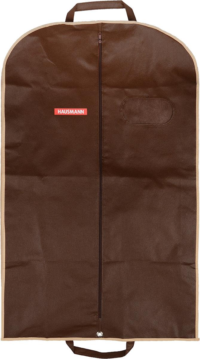 Чехол для одежды Hausmann, подвесной, с прозрачной вставкой, цвет: коричневый, 60 х 100 смHM-701003AG_коричневыйПодвесной чехол для одежды Hausmann на застежке-молнии выполнен из высококачественного нетканого материала. Чехол снабжен прозрачной вставкой из ПВХ, что позволяет легко просматривать содержимое. Изделие подходит для длительного хранения вещей. Чехол обеспечит вашей одежде надежную защиту от влажности, повреждений и грязи при транспортировке, от запыления при хранении и проникновения моли. Чехол обладает водоотталкивающими свойствами, а также позволяет воздуху свободно поступать внутрь вещей, обеспечивая их кондиционирование. Это особенно важно при хранении кожаных и меховых изделий. Чехол для одежды Hausmann создаст уютную атмосферу в гардеробе. Лаконичный дизайн придется по вкусу ценительницам эстетичного хранения и сделают вашу гардеробную изысканной и невероятно стильной. Размер чехла (в собранном виде): 60 х 100 см.