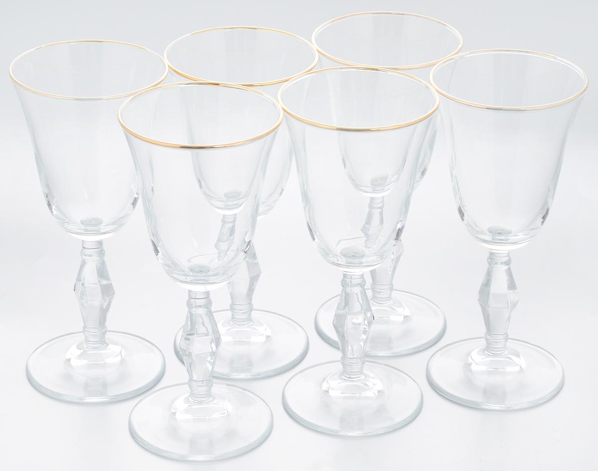 Набор бокалов Pasabahce Golden Retro, 236 мл, 6 шт440060B1Набор Pasabahce Golden Retro состоит из шести бокалов, выполненных из прочного натрий-кальций- силикатного стекла. Изделия оснащены рельефными ножками и оформлены золотистой окантовкой. Бокалы предназначены для подачи вина или других напитков. Они сочетают в себе элегантный дизайн и функциональность. Набор бокалов Pasabahce Golden Retro прекрасно оформит праздничный стол и создаст приятную атмосферу за романтическим ужином. Такой набор также станет хорошим подарком к любому случаю. Можно мыть в посудомоечной машине. Диаметр бокала (по верхнему краю): 8,5 см. Высота бокала: 18,5 см.