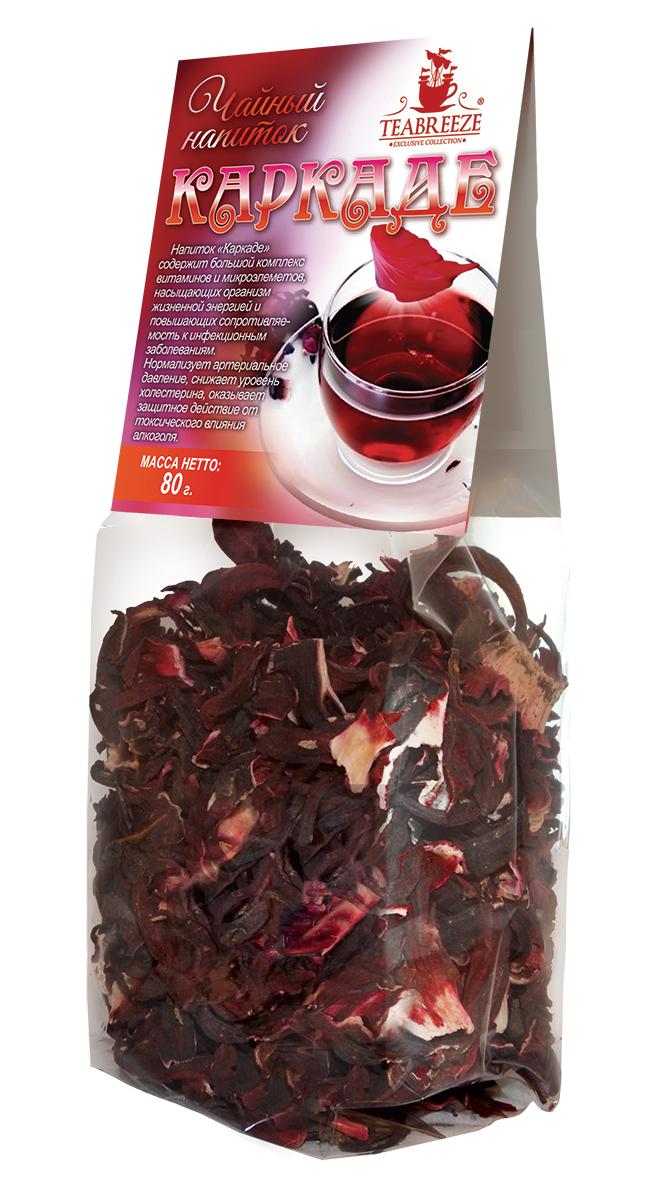 Teabreeze чайный напиток каркаде, 80 гTB 1301-80Напиток Teabreeze Каркаде содержит большой комплекс витаминов и микроэлементов, насыщающих организм жизненной энергией и повышающих сопротивляемость к инфекционным заболеваниям. Нормализует артериальное давление, снижает уровень холестерина, оказывает защитное действие от токсического влияния алкоголя. Горячий чай пьётся в качестве прохладительного напитка в жару. Также употребляется холодный каркаде с сахаром, этот напиток по вкусу напоминает морс.