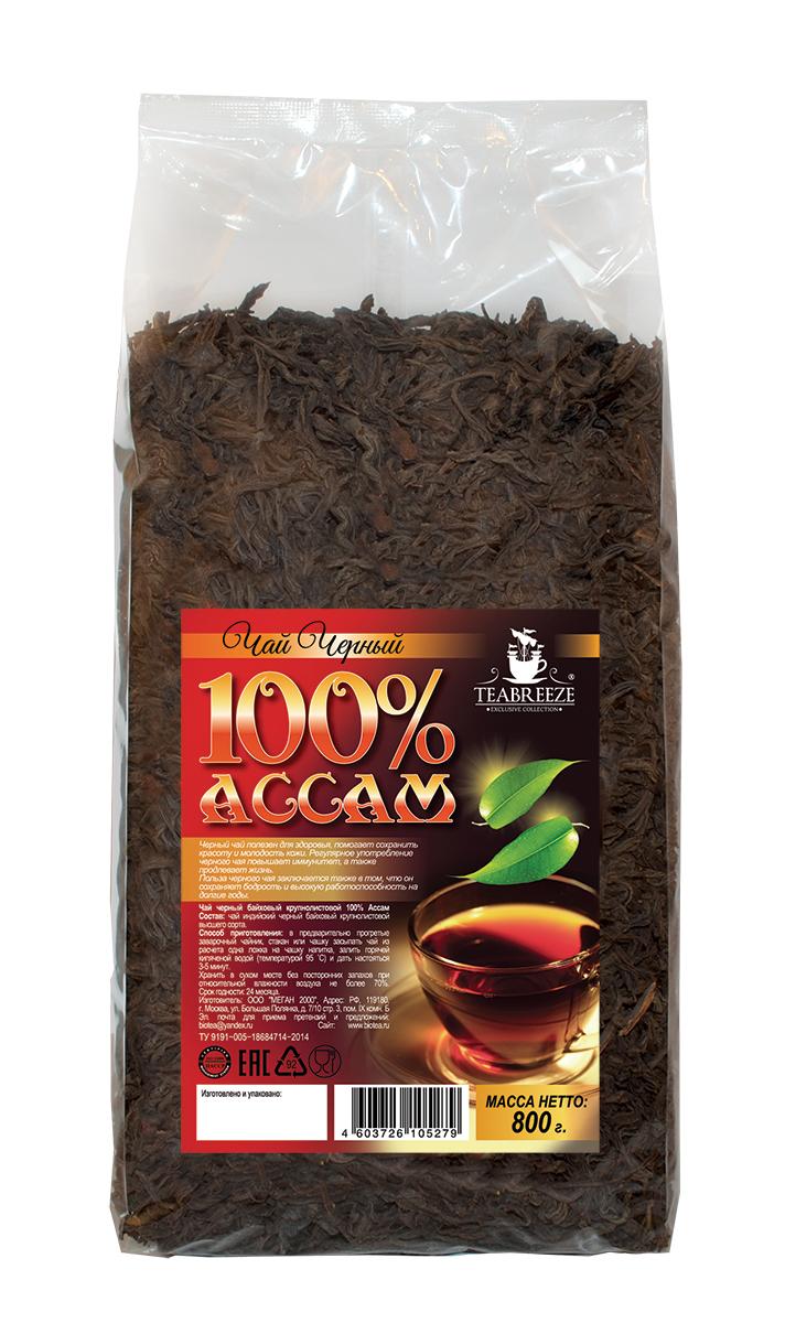 Teabreeze Ассам крупнолистовой черный байховый чай, 800 гTB 1506-800Ассам легко определить по специфическому, пряному, немного цветочному аромату с необычными для черного чая медовыми нотками. Может сочетается с молоком, сахаром и лимоном, но для более полного удовольствия от ассамовского послевкусия лучше этого избежать. Для лучшего ощущения послевкусия, после каждого глотка воздух надо выдыхать наполовину через рот, а наполовину через нос. Наградой за это будет легкий солодовый привкус с почти ментоловым свежим оттенком.