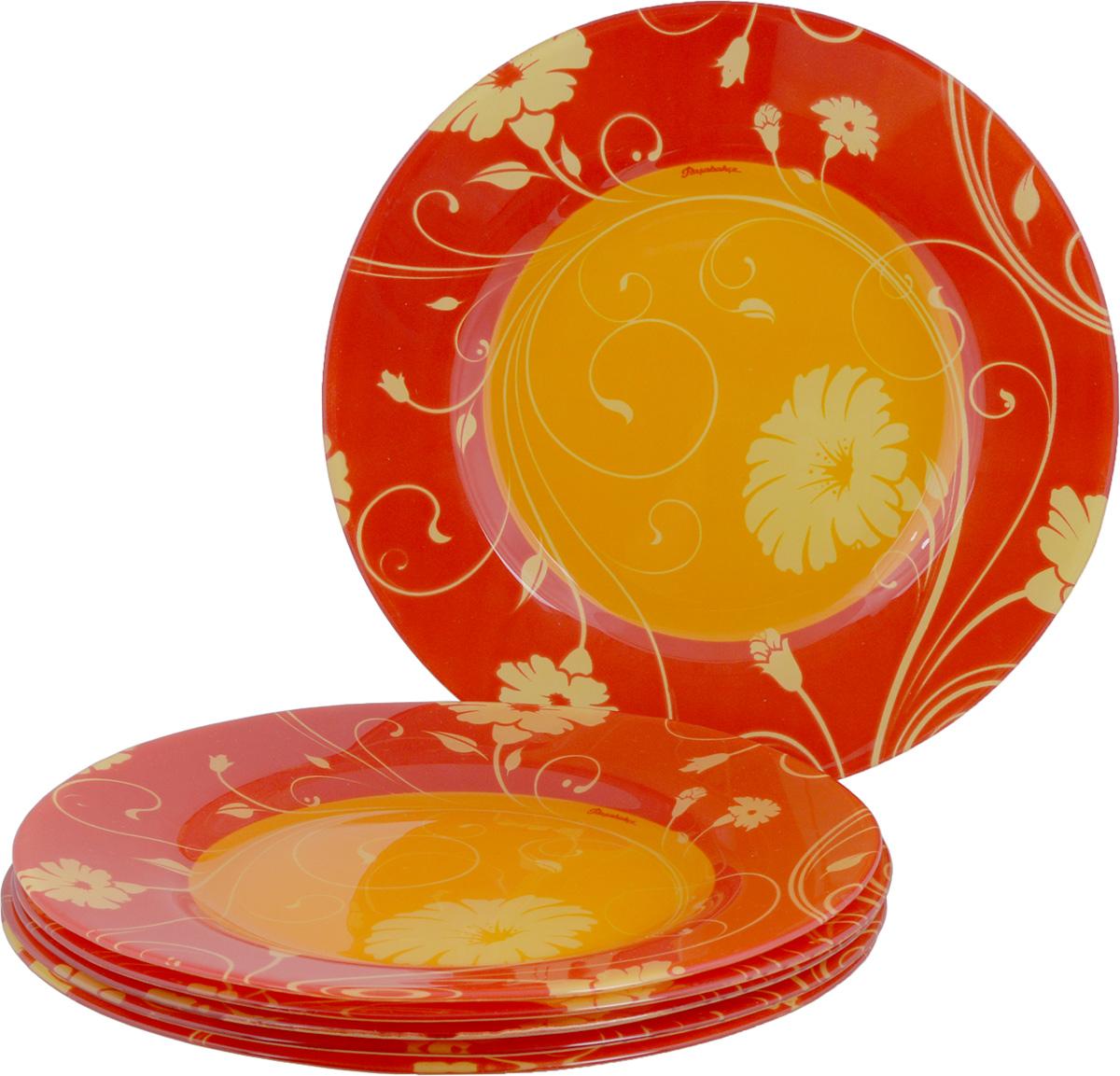 Набор тарелок Pasabahce Workshop Orange Serenade, диаметр 26 см, 6 шт10328BD1Набор Pasabahce Workshop Orange Serenade, выполненный из высококачественного натрий-кальций-силикатного тонированного стекла, состоит из шести тарелок и предназначен для красивой сервировки различных блюд. Набор сочетает в себе изысканный дизайн с максимальной функциональностью. Оригинальность оформления придется по вкусу и ценителям классики, и тем, кто предпочитает утонченность и изящность. Можно использовать в холодильной камере и в микроволновой печи. Можно мыть в посудомоечной машине. Диаметр тарелки: 26 см.