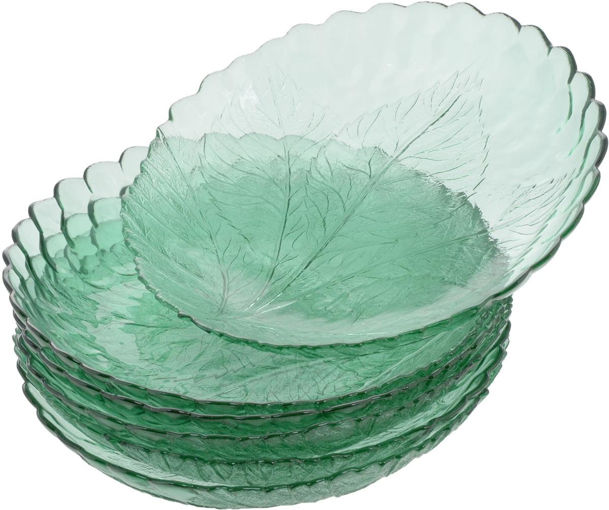Набор тарелок Pasabahce Workshop Green, диаметр 21 см, 6 шт10285BGRНабор Pasabahce Workshop Green, выполненный из высококачественного стекла, состоит из шести тарелок. Изделия прекрасно подойдут для красивой сервировки стола. Тарелки декорированы рельефным изображением листьев. Эстетичность, функциональность и изящный дизайн сделают набор достойным дополнением к вашему кухонному инвентарю. Набор тарелок Pasabahce Workshop Green украсит ваш стол и станет отличным подарком к любому празднику. Можно использовать в морозильной камере и микроволновой печи. Можно мыть в посудомоечной машине. Диаметр тарелки: 21 см.