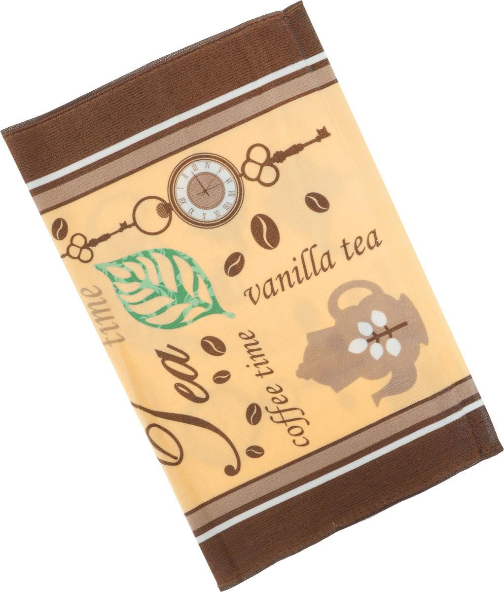 Полотенце кухонное Soavita Чай-Кофе, 38 х 50 см. 7712477124Кухонное полотенце Soavita Чай-Кофе, выполненное из высококачественной микрофибры (80% полиэстер, 20% полиамид), оформлено оригинальным рисунком. Изделие предназначено для использования на кухне и в столовой. Такое полотенце станет отличным вариантом для практичной и современной хозяйки.
