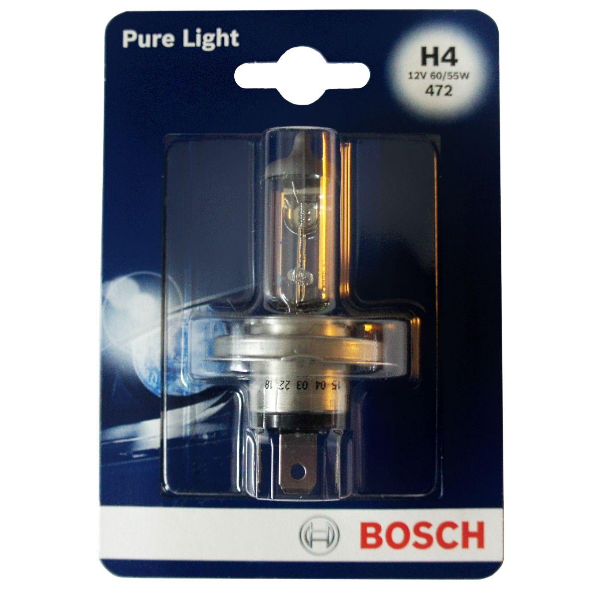 Лампа Bosch 60/55Вт H4 19873010011987301001Новые лампы Bosch для галогенных фар освещают дорогу интенсивным белым светом, который очень близок по свойствам к дневному освещению.Благодаря этому глаза водителя не теряют фокусировки и меньше устают даже во время долгих поездок в темное время суток. Новые лампы отличаются высокой яркостью и могут давать до 50% больше света, чем стандартные галогенные фары. Лампы Bosch доступны в вариантах H1, H4 и H7. Серебряное покрытие ламп H4 и H7 делает их едва заметными за стеклами выключенных фар. Новые лампы выглядят наиболее эффектно в сочетании с фарами из прозрачного стекла и подчеркивают современный дизайн автомобилей. Увеличенная яркость и дальность освещения положительно сказывается на безопасности движения. В темное время суток или в сложных погодных условиях, таких как ливень или густой туман, водитель замечает опасную ситуацию намного раньше и на большем расстоянии, при этом лучше заметен и сам автомобиль с фарами Bosch. Напряжение: 12 вольт