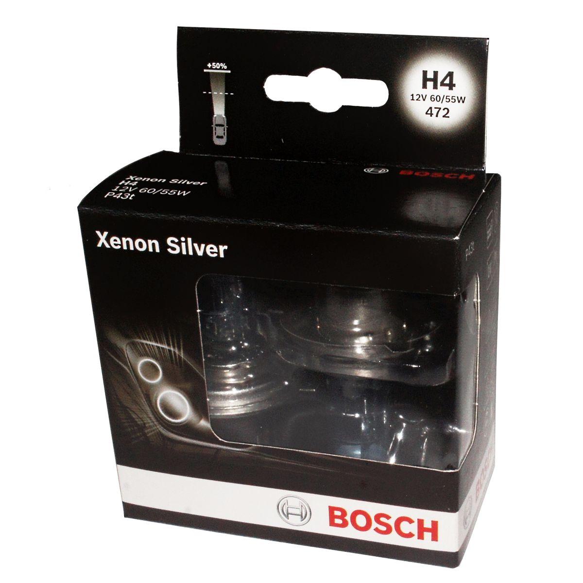 Лампа Bosch H7 Xenon Silver 2шт. 19873010871987301087Новые лампы Bosch для галогенных фар освещают дорогу интенсивным белым светом, который очень близок по свойствам к дневному освещению.Благодаря этому глаза водителя не теряют фокусировки и меньше устают даже во время долгих поездок в темное время суток. Новые лампы отличаются высокой яркостью и могут давать до 50% больше света, чем стандартные галогенные фары. Лампы Bosch доступны в вариантах H1, H4 и H7. Серебряное покрытие ламп H4 и H7 делает их едва заметными за стеклами выключенных фар. Новые лампы выглядят наиболее эффектно в сочетании с фарами из прозрачного стекла и подчеркивают современный дизайн автомобилей. Увеличенная яркость и дальность освещения положительно сказывается на безопасности движения. В темное время суток или в сложных погодных условиях, таких как ливень или густой туман, водитель замечает опасную ситуацию намного раньше и на большем расстоянии, при этом лучше заметен и сам автомобиль с фарами Bosch. Напряжение: 12 вольт