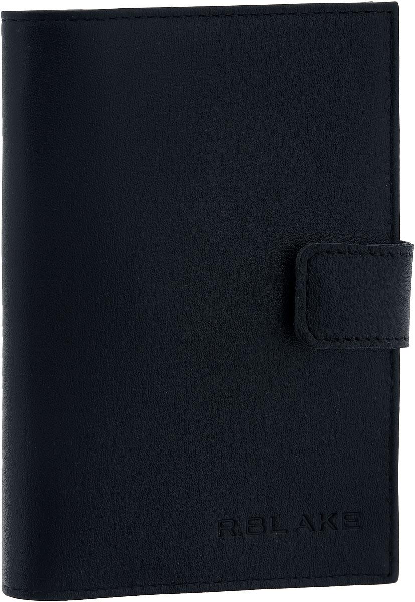 Обложка для паспорта мужская R.Blake, цвет: черный. GOP100-000000-A0201O-K101GOP100-000000-A0201O-K101Стильная обложка для паспорта R.Blake выполнена из натуральной кожи и оформлена тиснением в виде названия бренда. Обложка закрывается хлястиком на кнопку. Внутри изделие содержит прорезной кармашек для кредитной карты, открытый угловой кармашек и два прозрачных кармашка из ПВХ. Изделие поставляется в фирменной упаковке с символикой бренда. Такая обложка станет отличным подарком для человека, который ценит качественные и практичные вещи.