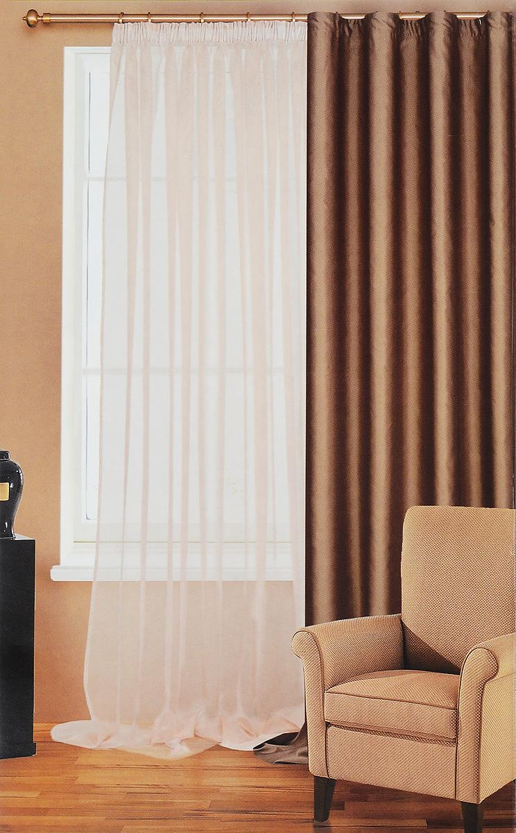 Штора готовая для гостиной Garden, на ленте, цвет: коричневый, высота 260 см. С W1741С W1741 V3_коричневыйРоскошная светонепроницаемая портьерная штора Garden выполнена из 100% полиэстера. Материал плотный и мягкий на ощупь. Оригинальная текстура ткани и спокойная цветовая гамма привлекут к себе внимание и органично впишутся в интерьер помещения. Эта штора будет долгое время радовать вас и вашу семью. Штора крепится на карниз при помощи ленты, которая поможет красиво и равномерно задрапировать верх. Рекомендации по уходу: - стирка при температуре 30°С, - отбеливание запрещено, - разрешена сухая чистка (химчистка) и глажка.
