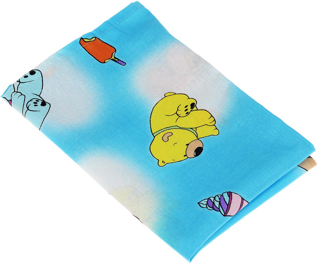 Фея Наволочка детская Мишки и мороженое цвет голубой 40 см х 60 см ( 0001056-1_голубой, разноцветные мишки/мороженое )