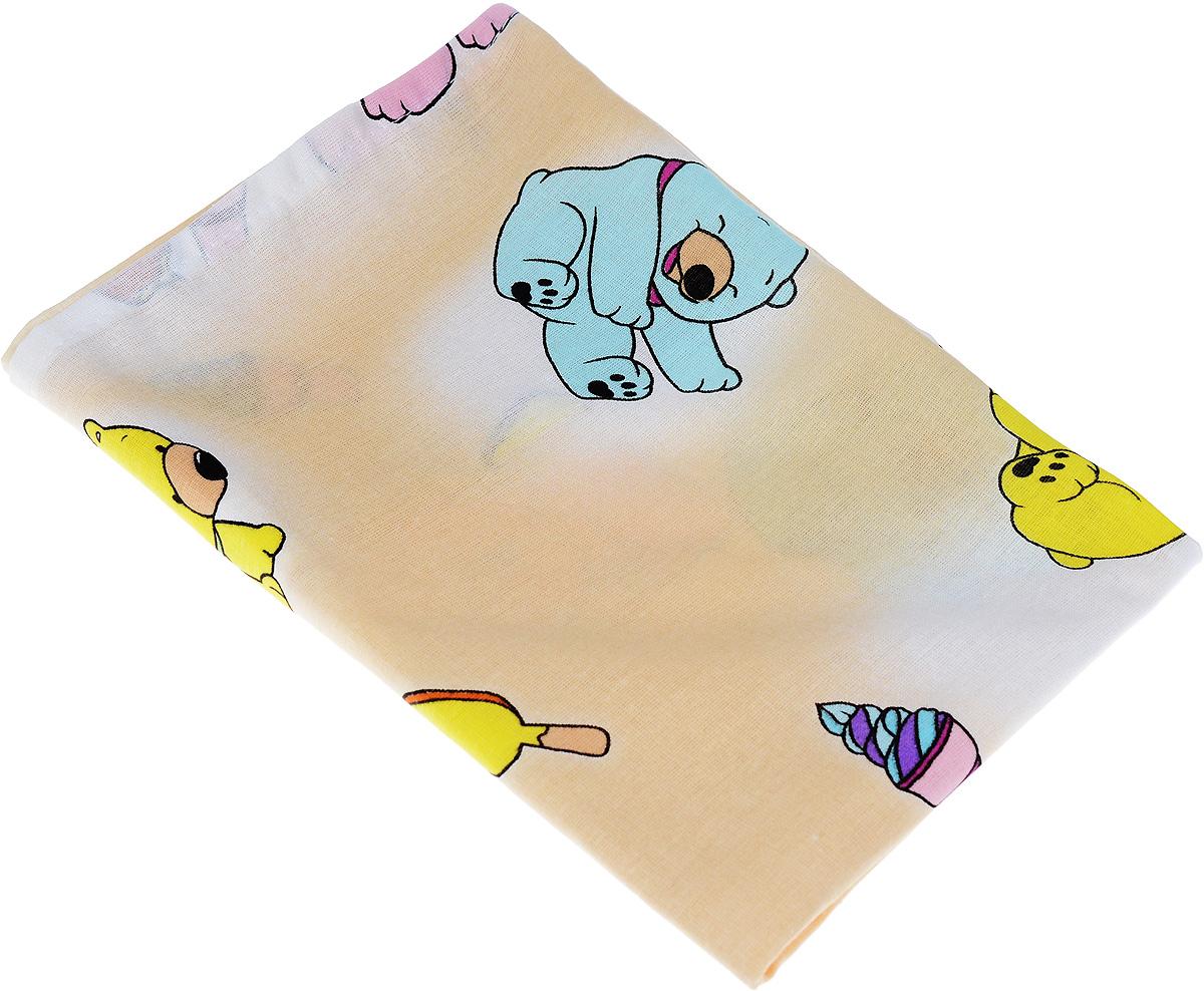 Фея Наволочка детская Мишки и мороженое цвет бежевый 40 см х 60 см ( 0001056-3_бежевый, разноцветные мишки/мороженое )