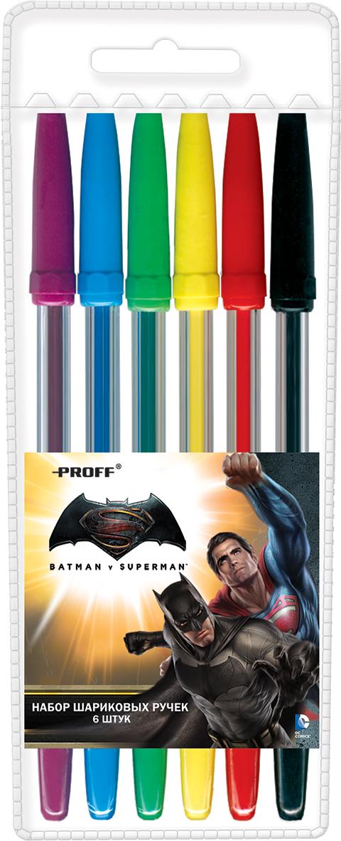 Proff Набор ручек шариковых Бэтмен против Супермена 6 шт