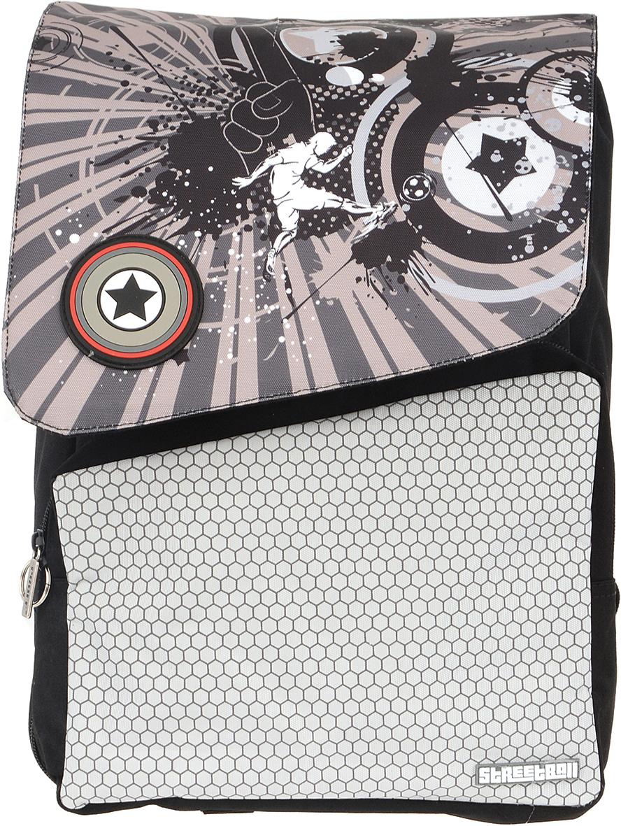 Proff Рюкзак детский Street BallSP16-BPA-02-02Детский рюкзак Proff Street Ball обязательно привлечет внимание вашего школьника. Рюкзак содержит одно вместительное отделение, закрывающееся затягивающимся шнурком и клапаном на защелку. Внутри отделения находятся две мягкие перегородки с хлястиком на липучке, открытый карман. Лицевая сторона изделия оснащена накладным карманом на молнии, внутри которого расположены два отделения для канцелярских принадлежностей, два кармашка для различных мелочей и брелок с кольцом для ключей. По периметру рюкзака расположена молния для увеличения объема. Изделие оснащено ручкой с резиновой насадкой для удобной переноски. Конструкция спинки дополнена эргономичными подушечками, противоскользящей сеточкой и системой вентиляции для предотвращения запотевания спины ребенка. Мягкие широкие лямки позволяют легко и быстро отрегулировать рюкзак в соответствии с ростом. Дно с пластиковыми ножками обеспечивает защиту от загрязнений.