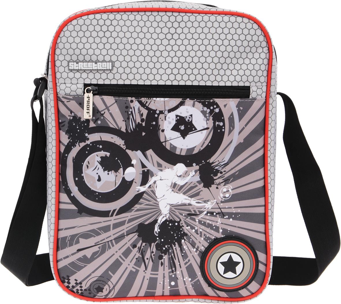 Proff Сумка школьная Street BallSP16-SBT-08Школьная сумка Proff Street Ball идеально подойдет для вашего школьника, ведь она выполнена из прочного износостойкого полиэстера. Сумка имеет одно вместительно отделение, закрывающееся на застежку-молнию. Внутри отделения находятся два кармана - один на молнии, другой - карман-сетка. На лицевой стороне сумки находится вместительный карман на молнии, а на задней стороне - карман на липучке. Сумка оснащена широким плечевым ремнем, регулируемым по длине.