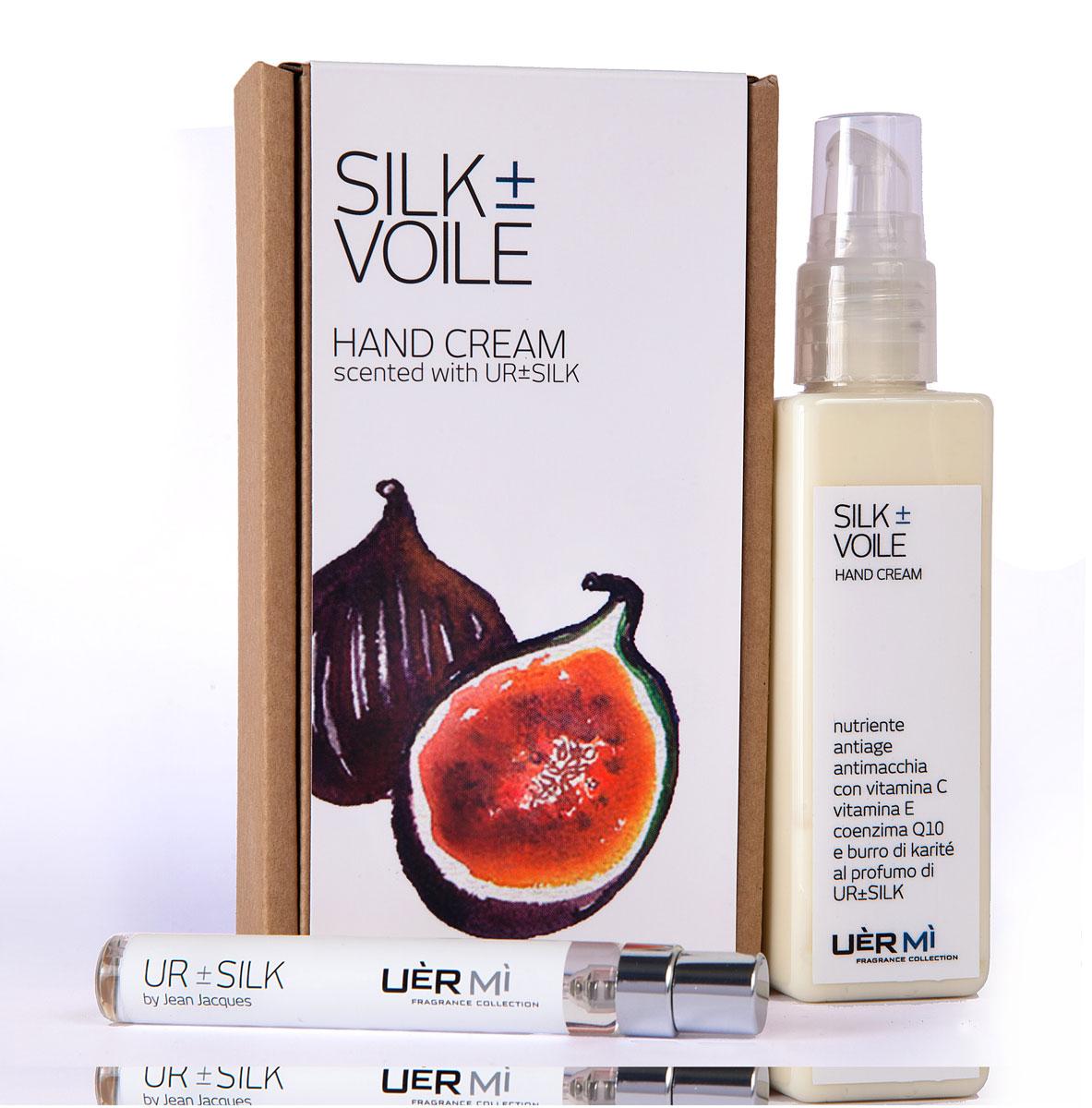 Uermi Набор Silk: крем для рук voile silk, 100мл, парфюмерная вода ur-silk7, 7,5млUE030UR Silk. Чувственный, мягкий, гладкий, шелк высоко ценится, а прикосновение к нему вызывает трепет, как у мужчин, так и у женщин. У парфюмера Жан Жак шелковая чувственность подчеркнута инжирными нотами.