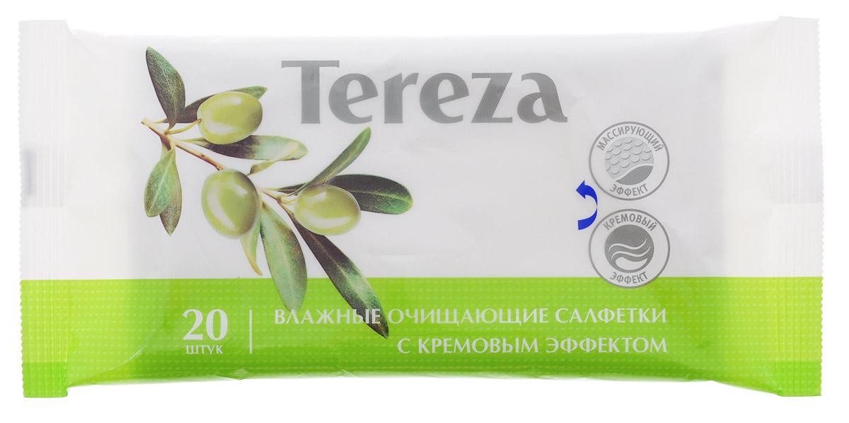 Tereza Влажные очищающие салфетки с кремовым эффектом 20 шт5800Влажные очищающие салфетки Tereza с кремовым эффектом состоят из мягкого нетканого материала высокой плотности со специальной структурой соты, что позволяет обеспечить надежное очищение и деликатный массирующий эффект. В составе салфеток содержится оливковое масло и природный аллантоин, успокаивающие и увлажняющие кожный покров, смягчающие и снижающие риск возникновения раздражения. Большой размер салфетки (с ладонь человека) подходит для ухода за лежачими больными и за детьми. В упаковке 20 салфеток. Такой формат удобно использовать вне дома - на прогулке, при посещении врача.