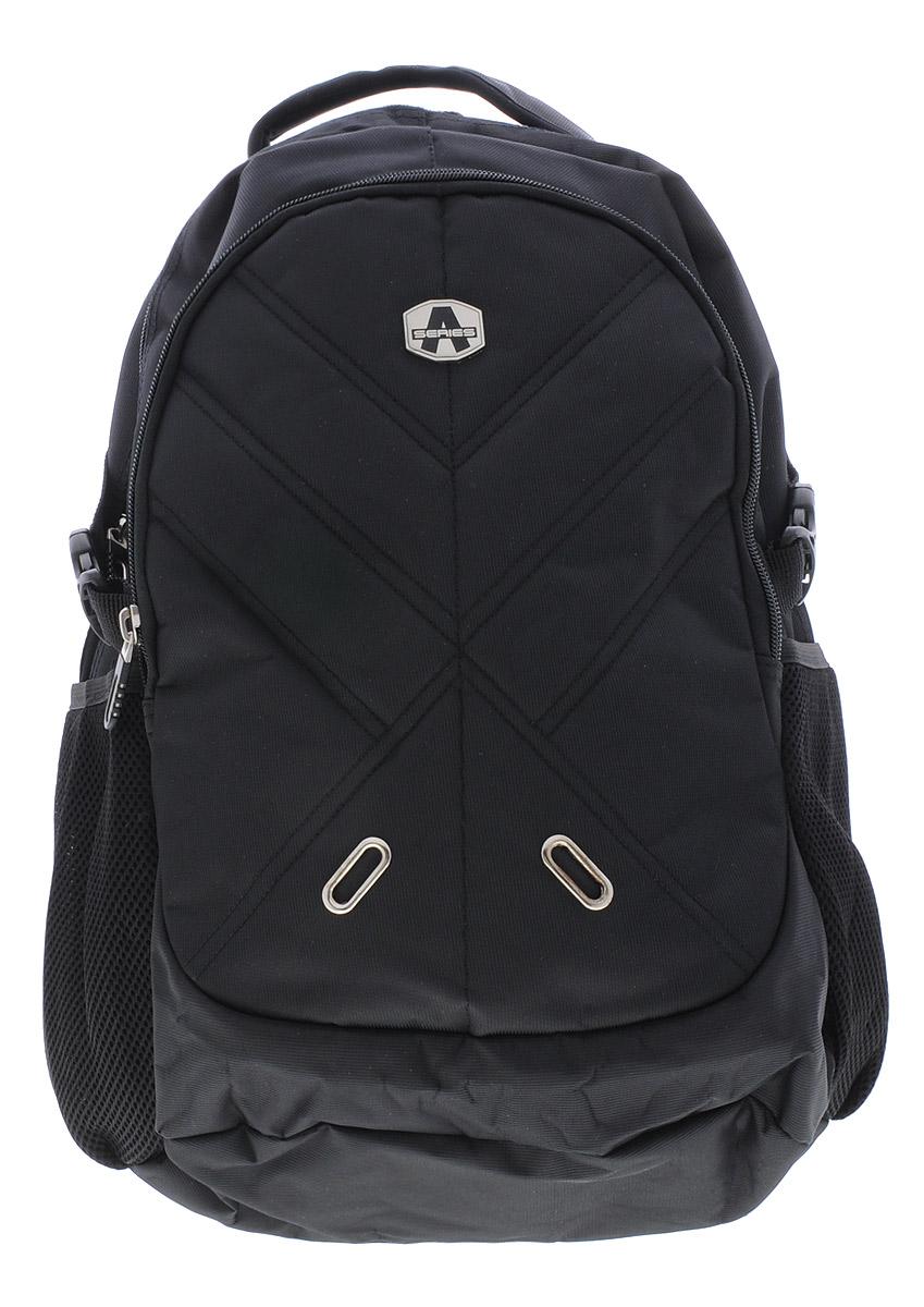 Hatber Рюкзак Black Style 1NRk_15108Рюкзак Hatber Black Style-1 - классическая модель для человека, ведущего активный образ жизни. Рюкзак имеет одно основное отделение, закрывающееся на молнию с двумя бегунками. Внутри главного отделения расположен разделитель с хлястиком на липучке, предназначенный для ноутбука. На лицевой стороне рюкзака расположен наружный карман на молнии. Карман имеет внутри 4 открытых накладных кармашка и один сетчатый кармашек. По бокам рюкзака расположены два накладных сетчатых кармана на резинке. Эргономичная вентилируемая спинка с мягкими вставками из спонжа обеспечит комфорт при носке, а широкие лямки с мягкой подкладкой регулируются по длине и надежно фиксируют рюкзак, правильно распределяя нагрузку и предотвращая перенапряжение мышц. Прочная ручка с мягкой подкладкой обеспечивает возможность переноски рюкзака в одной руке, а специальная петля поможет подвесить рюкзак на вешалке или ветке дерева. Многофункциональный рюкзак станет вашим незаменимым...