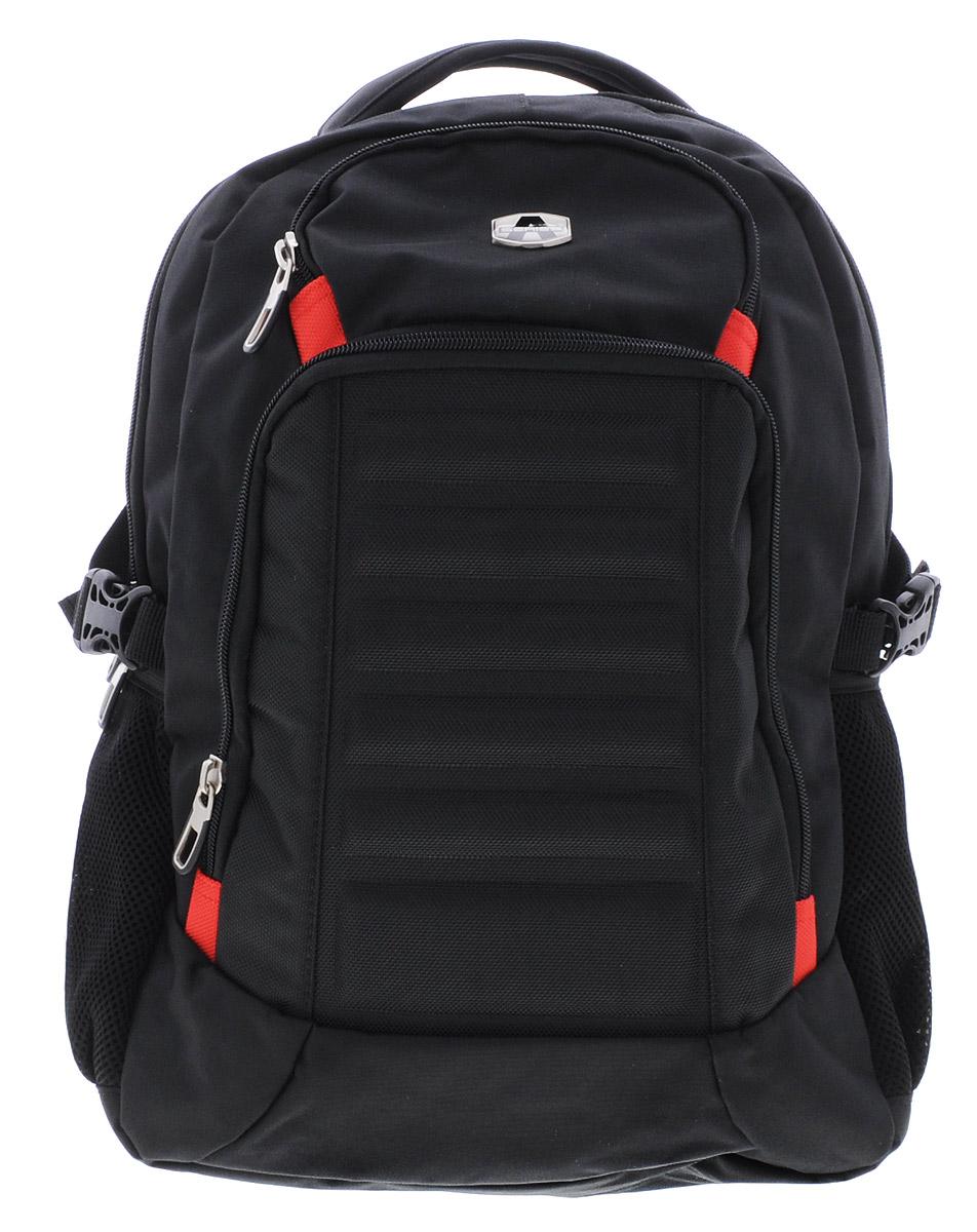 Hatber Рюкзак Black Style 8NRk_15808Рюкзак Hatber Black Style-8 - классическая модель для человека, ведущего активный образ жизни. Рюкзак имеет одно основное отделение, закрывающееся на молнию с двумя бегунками. Внутри главного отделения расположен разделитель с хлястиком на липучке, предназначенный для ноутбука. На лицевой стороне рюкзака расположены 2 кармана. Большой наружный карман на молнии имеет внутри 4 открытых накладных кармашка и один сетчатый кармашек. Маленький наружный карман на молнии содержит внутри сетчатый кармашек. По бокам рюкзака расположены два накладных сетчатых кармана на резинке. Эргономичная вентилируемая спинка с мягкими вставками из спонжа обеспечит комфорт при носке, а широкие лямки с мягкой подкладкой регулируются по длине и надежно фиксируют рюкзак, правильно распределяя нагрузку и предотвращая перенапряжение мышц. Прочная ручка с мягкой подкладкой обеспечивает возможность переноски рюкзака в одной руке, а специальная петля поможет подвесить рюкзак на...
