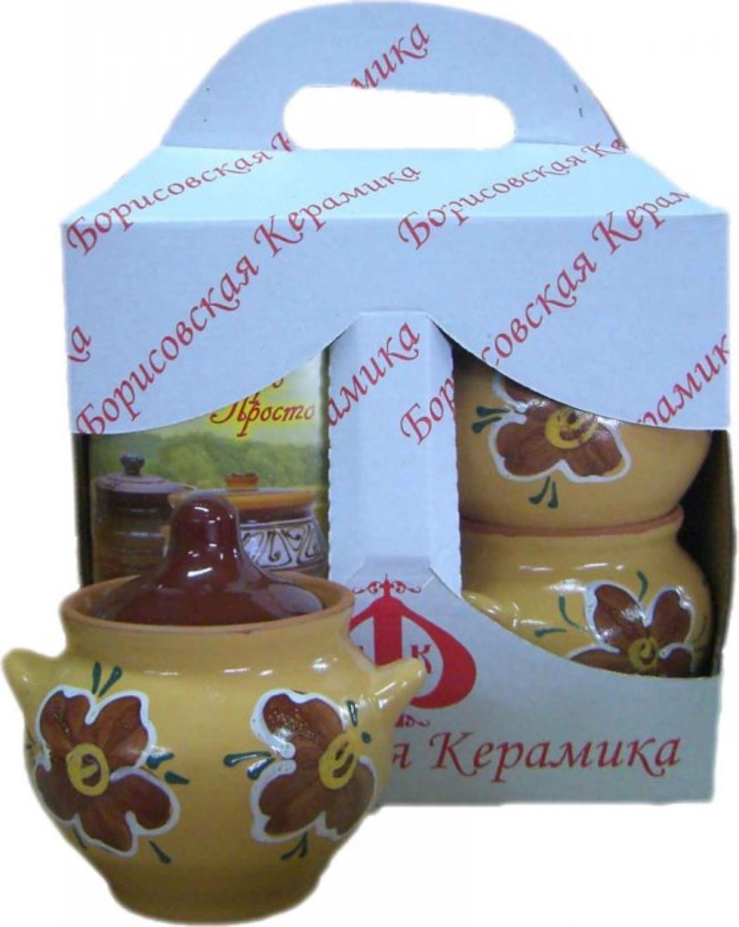 Набор посуды Борисовская керамика Подарочный, 4 предмета. ОБЧ00000492ОБЧ000004924 горшка для жаркого №1 (0,55 л) + книжка с рецептами в коробке