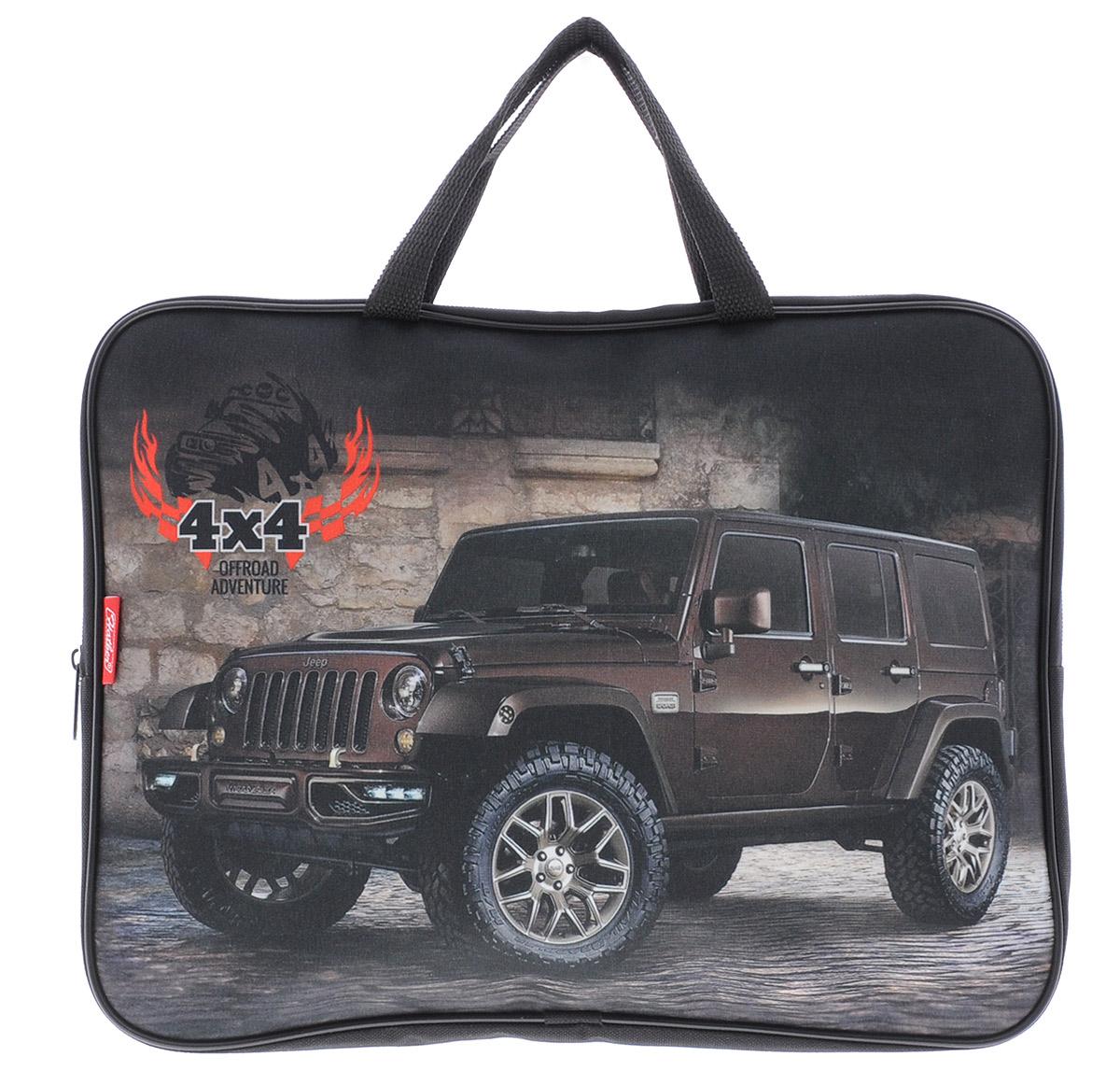 Hatber Сумка-папка Jeep формат А4NSn_41186Сумка-папка Hatber Jeep формата А4 - это сочетание удобства, качества и оригинального дизайна. Сумка подходит как для детей, так и для взрослых. Имеет одно отделение на молнии, в котором удобно носить тетради, альбомы для рисования и другие канцелярские принадлежности. Сумка имеет внутренний карман и прочные ручки. Износостойкий полиэстер сумки надежно защитит важные бумаги.