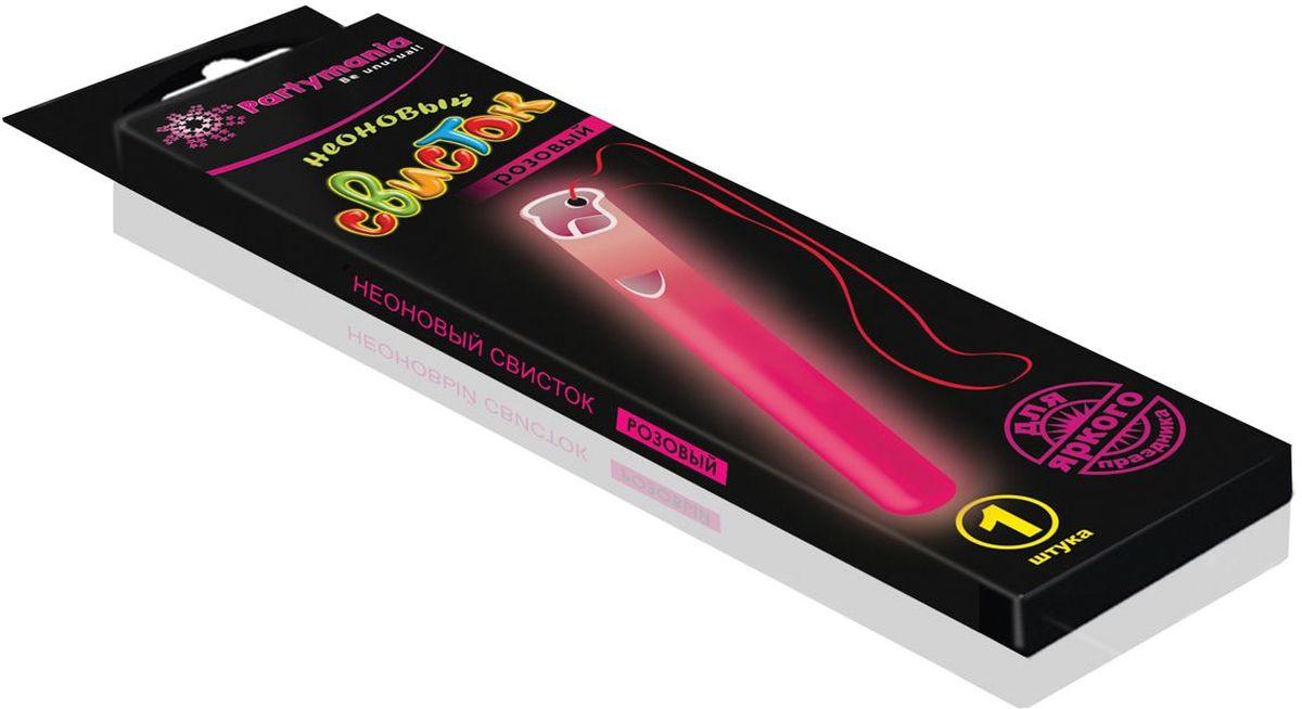 Partymania Изделие для праздников и активных игр Неоновый свисток T0115 цвет розовый