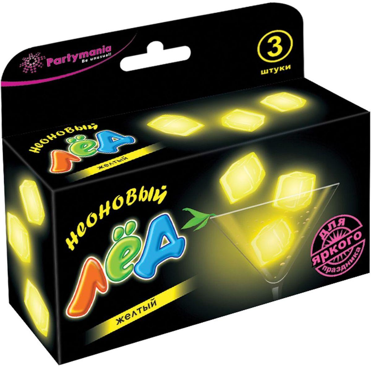 Partymania Изделие для праздников Неоновый лед T0111 цвет желтыйT0111_желтыйИспользуется для украшения напитков. Придает оригинальный вид любому бокалу, стакану с помощью эффекта интенсивного неонового свечения. Изделие светится в течение 5-6 часов. Для достижения наилучшего цветового эффекта рекомендуется использовать изделие в темноте или при слабом освещении.
