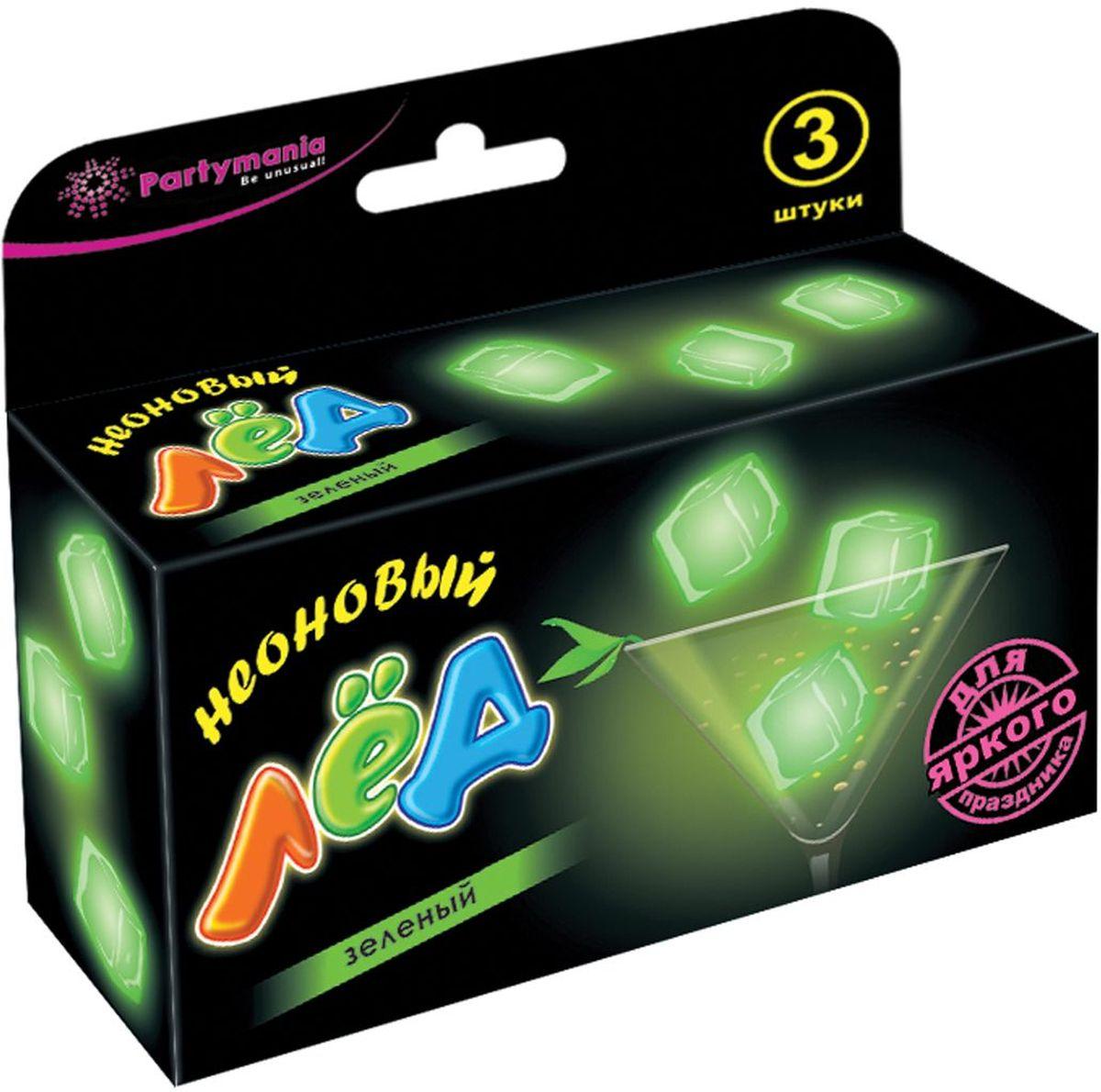 Partymania Изделие для праздников Неоновый лед T0111 цвет зеленыйT0111_зеленыйИспользуется для украшения напитков. Придает оригинальный вид любому бокалу, стакану с помощью эффекта интенсивного неонового свечения. Изделие светится в течение 5-6 часов. Для достижения наилучшего цветового эффекта рекомендуется использовать изделие в темноте или при слабом освещении.