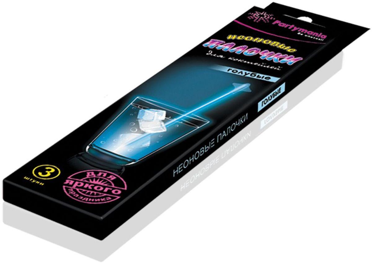 Partymania Изделие для праздников и карнавалов Неоновые палочки для коктейлей T0107 цвет голубые