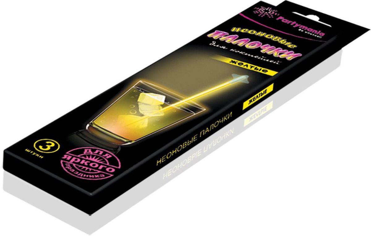 Partymania Изделие для праздников и карнавалов Неоновые палочки для коктейлей T0107 цвет желтые