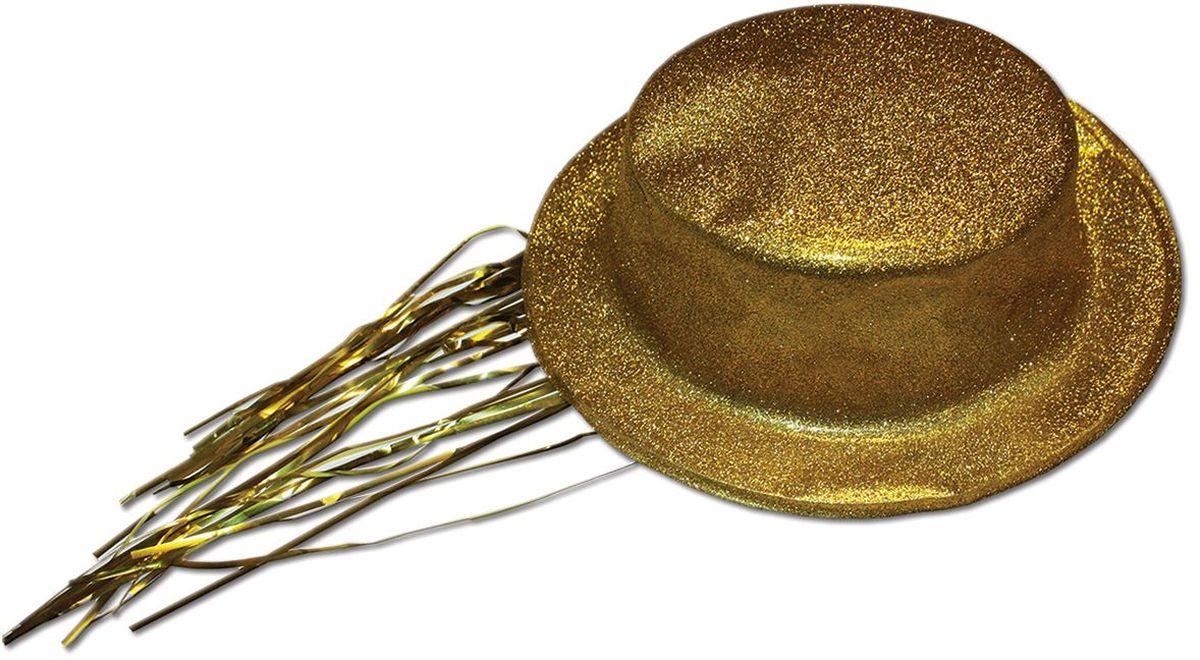 Partymania Шляпа карнавальная с дождиком T1231 цвет золотая