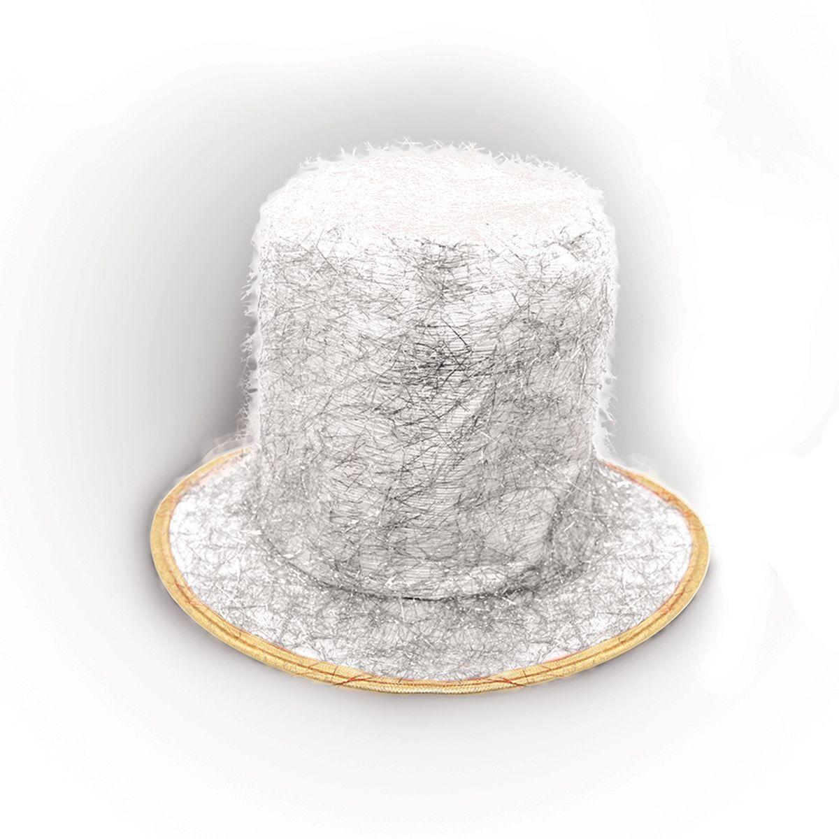 Partymania Шляпа карнавальная Цилиндр клоуна T1229 цвет белый
