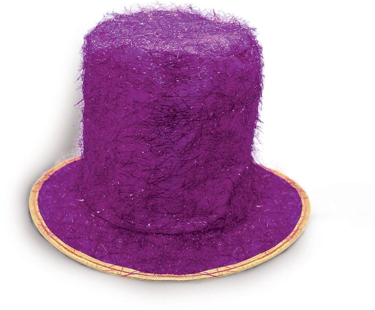 Partymania Шляпа карнавальная Цилиндр клоуна T1229 цвет фиолетовыйT1229_фиолетовыйЯркий тканевый цилиндр клоуна для карнавальных вечеринок и праздников. В ассортименте 6 цветов (золотой, серебряный, синий, красный, малиновый, фиолетовый).