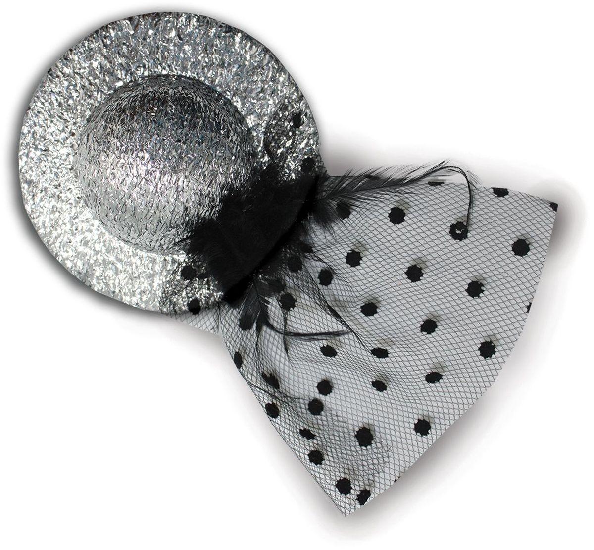 Partymania Мини-шляпка с вуалью 10 см T1227 цвет серебряная