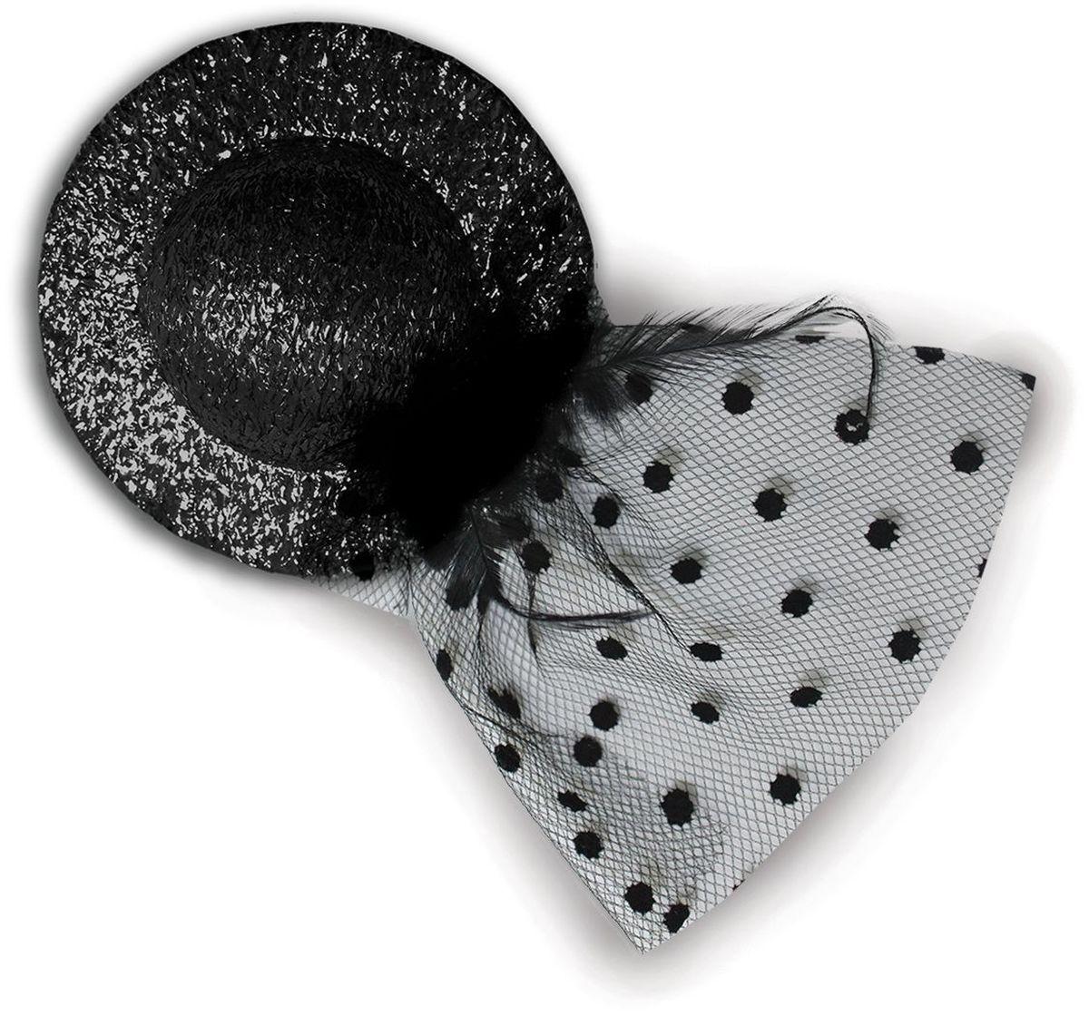 Partymania Мини-шляпка с вуалью 10 см T1227 цвет черная
