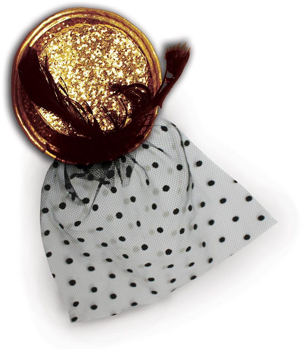 Partymania Шляпка-цилиндр с вуалью 11 см T1226 цвет золотая