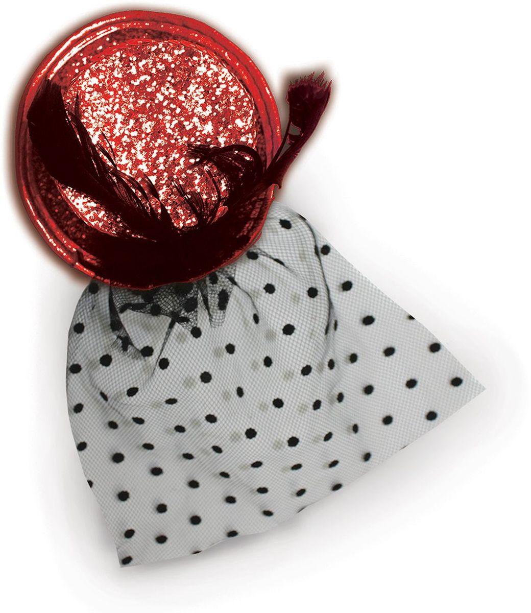 Partymania Шляпка-цилиндр с вуалью 11 см T1226 цвет краснаяT1226_краснаяОригинальная шляпка на резинке удобна в применении и станет прекрасным дополнением Вашего образа на любом празднике. Цвета: золотой, серебряный, красный, черный. Диаметр: 11 см.