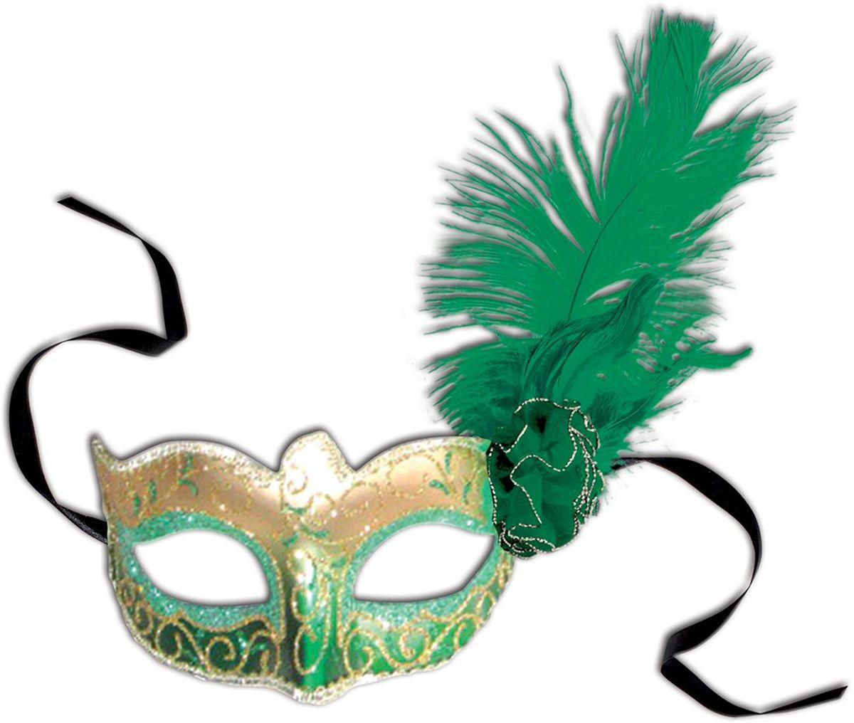 Partymania Венецианская маска Карнавал T1217 цвет зелено-золотаяT1217_зелено-золотаяИзделие развлекательного характера. Очень элегантная и изысканная маска, придаст Вашему образу загадочность и эффектность. Маска крепится с помощью черных атласных лент.