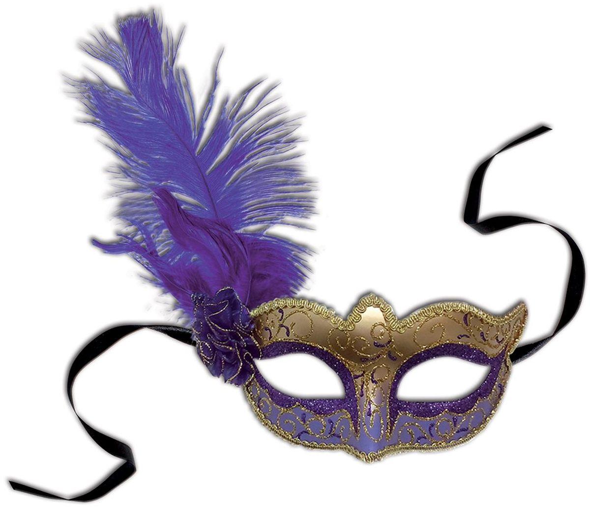 Partymania Венецианская маска Карнавал T1217 цвет фиолетово-золотаяT1217_фиолетово-золотаяИзделие развлекательного характера. Очень элегантная и изысканная маска, придаст Вашему образу загадочность и эффектность. Маска крепится с помощью черных атласных лент.