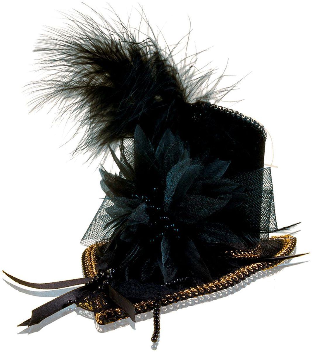 Partymania Шляпка-таблетка Винтаж T1208 цвет черная