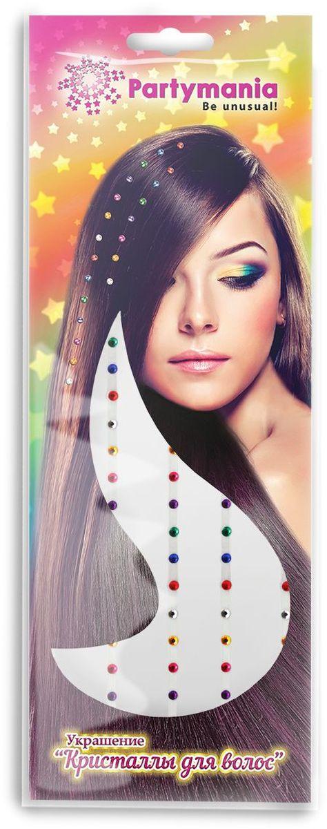 Partymania Украшение Кристаллы для волос T0809 цвет разноцветные