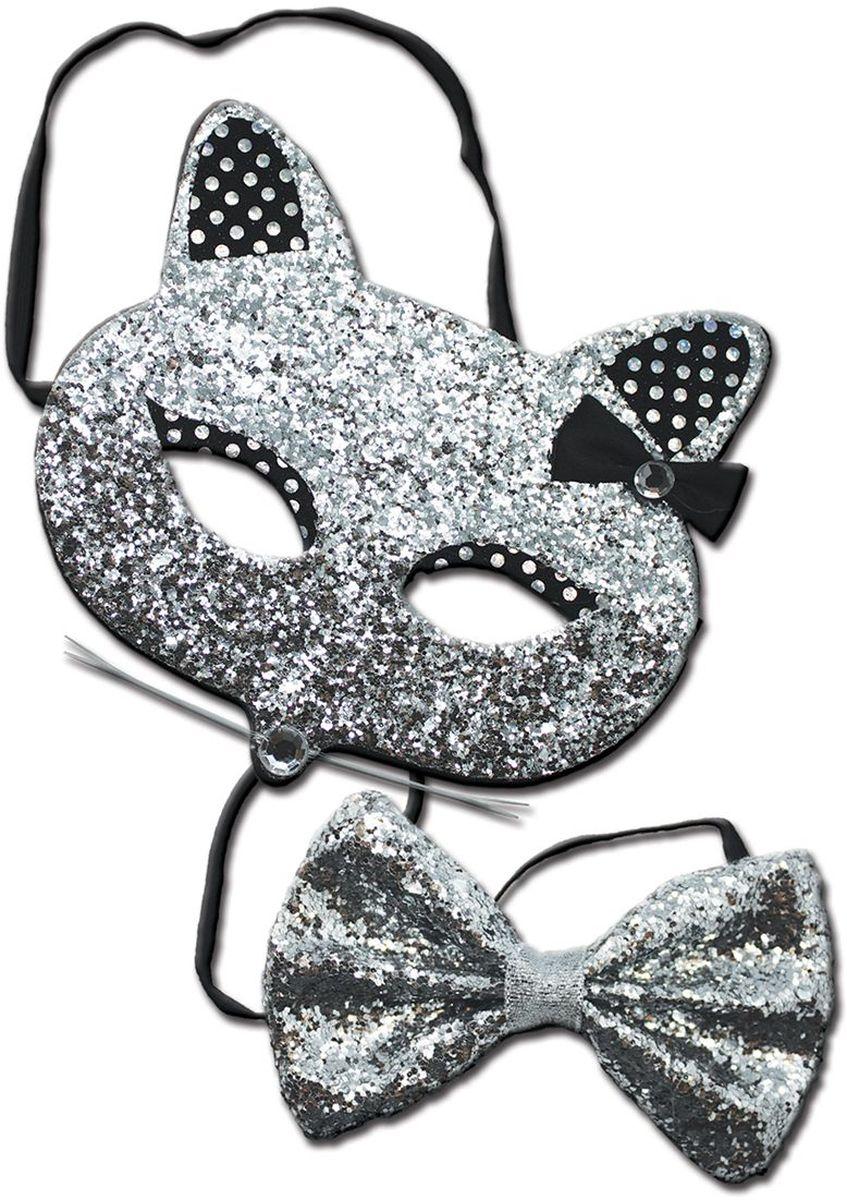 Partymania Праздничный ободок Маска кошечки с бабочкой T1224 цвет серебрянаяT1224_серебрянаяИзделие развлекательного характера. Красочное дополнение к карнавальному костюму. Праздник станет ярким м красочным!