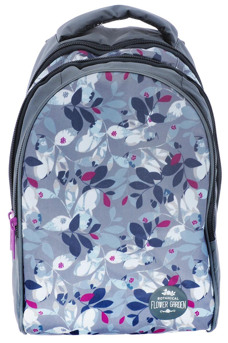 Hatber Рюкзак Flower GardenNRk_11307Рюкзак Hatber Flower Garden - это современный многофункциональный молодёжный рюкзак, который выполнен из прочного износостойкого материала высокого качества. Рюкзак с усиленным дном имеет два основных отделения на молнии. Внутри отделения, расположенного ближе к спинке рюкзака, находится навесной карман на молнии, а также открытый карман на резинке. Большой наружный карман на молнии имеет внутри 5 открытых накладных кармашков (органайзер). На спинке рюкзака за мягкой вставкой располагается небольшой карман на молнии. Эргономичная вентилируемая спинка с мягкими вставками из спонжа обеспечит комфорт при носке, а широкие лямки с мягкой подкладкой регулируются по длине и надежно фиксируют рюкзак, правильно распределяя нагрузку и предотвращая перенапряжение мышц. Прочная ручка с мягкой подкладкой обеспечивает возможность переноски рюкзака в одной руке. Многофункциональный рюкзак станет вашим незаменимым спутником, куда бы вы не отправились.