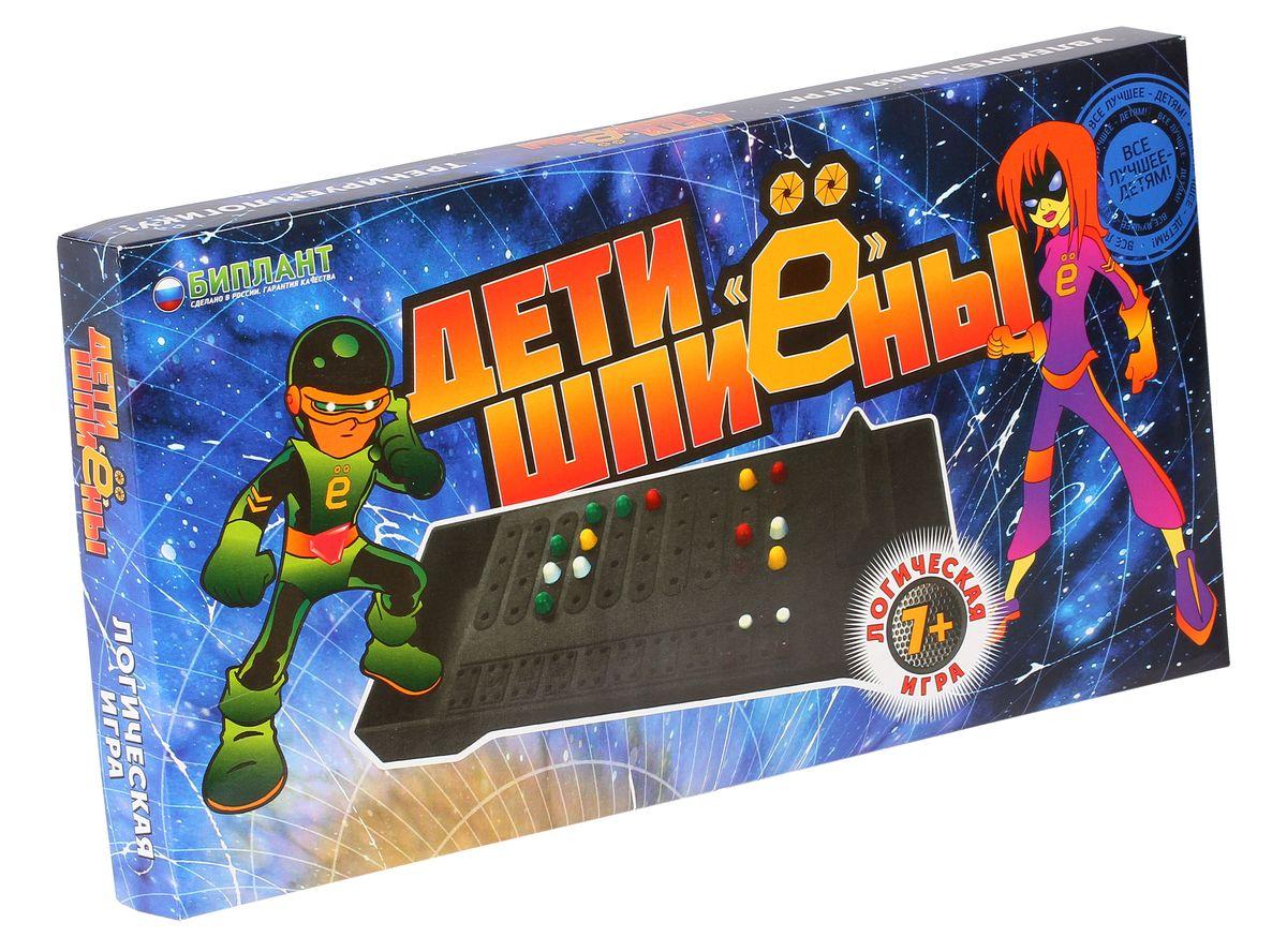 Биплант Настольная игра 10026/10025 Дети шпиены10026/10025Дети ШпиЁны - это логическая игра для детей и взрослых. В игру играют вдвоём. Один из игроков загадывает комбинацию из четырех разноцветных фишек. Второй должен её отгадать за наименьшее количество ходов. Многим это игра известна под названием Быки и коровы.
