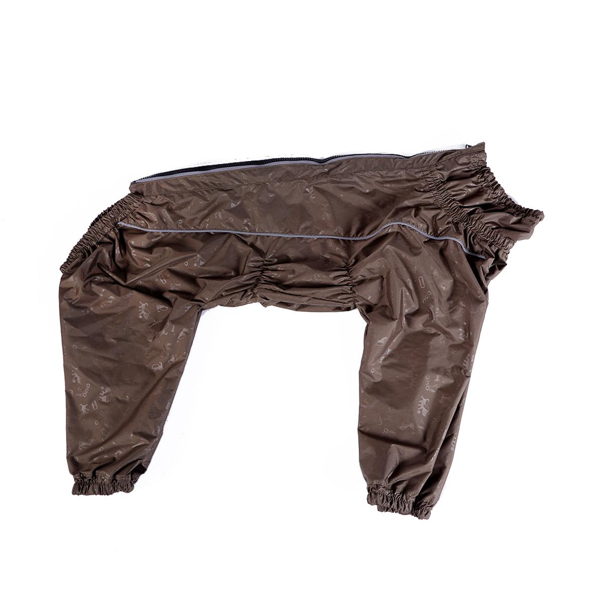 Комбинезон для собак OSSO Fashion, для мальчика, цвет: хаки. Размер 70К-1038-хакиКомбинезон для собак без подкладки из водоотталкивающей и ветрозащитной ткани (100% полиэстер). Предназначен для прогулок в межсезонье, в сырую погоду для защиты собаки от грязи и воды. В комбинезоне используется отделка со светоотражающим кантом и тракторная молния со светоотражающей полосой. Комбинезон для собак эргономичен, удобен, не сковывает движений собаки при беге, во время игры и при дрессировке. Комфортная посадка по корпусу достигается за счет резинок-утяжек под грудью и животом. На воротнике имеется кнопка для фиксации. От попадания воды и грязи внутрь комбинезона низ штанин также сборен на резинку. Рекомендуется машинная стирка с использованием средства для стирки деликатных тканей при температуре не выше 40?С и загрузке барабана не более чем на 40% от его объема, отжим при скорости не более 400/500 об/мин, сушка на воздухе – с целью уменьшения воздействия на водоотталкивающую (PU) пропитку ткани. Рекомендации по подбору размера: Размер подбирается по длине спины собаки....