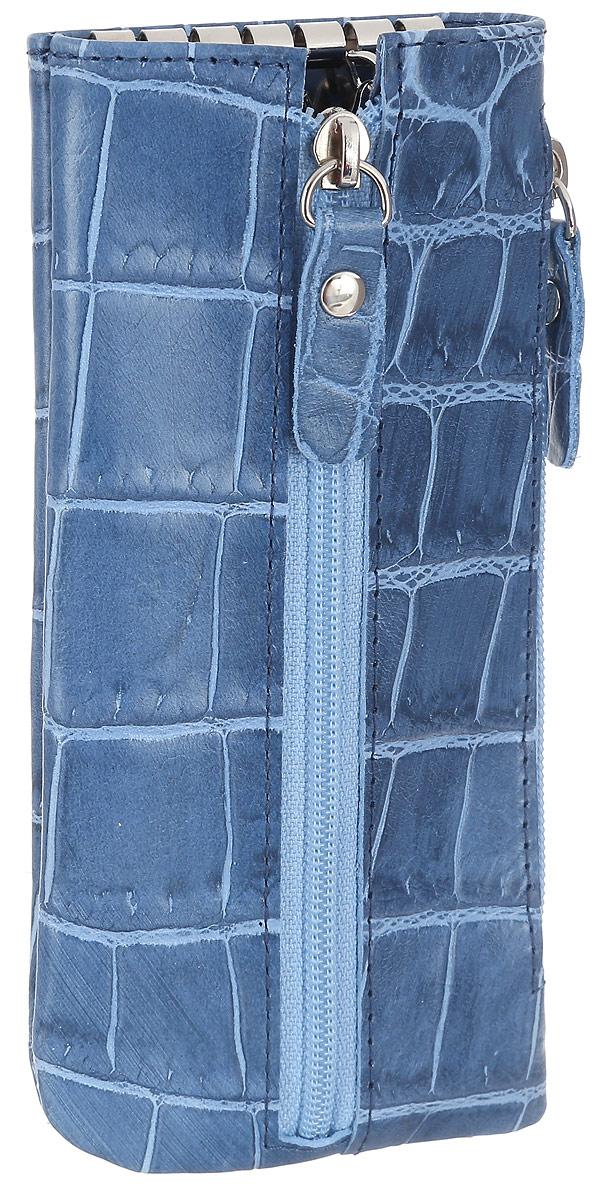 Ключница женская Esse Грета Elite, цвет: синий. GGRT00-00ML00-FG108S-K100GGRT00-00ML00-FG108S-K100Оригинальная ключница Esse Грета Elite изготовлена из натуральной кожи и оформлена тиснением под крокодила. Модель застёгивается на застёжку-молнию. Внутри ключницы расположены шесть металлических крючков для крепления ключей. Сбоку расположен дополнительный врезной карман на молнии. Этот аксессуар станет замечательным подарком человеку, ценящему качественные и практичные вещи.