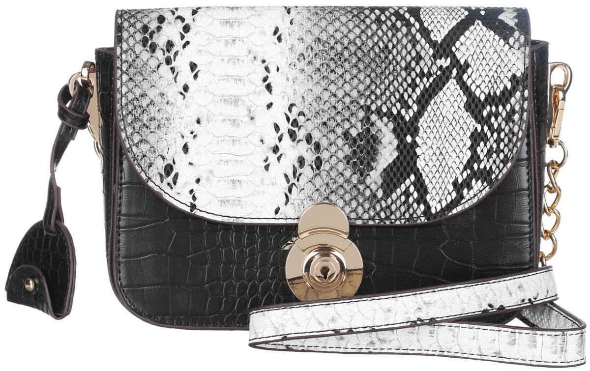 Сумка женская Dispacci, цвет: черный. 3197631976Элегантная женская сумка Dispacci изготовлена из экокожи с декоративным фактурным тиснением под кожу рептилии и дополнена подвеской. Изделие содержит одно основное отделение, закрывающееся на застежку-молнию и дополнительно на клапан с защелкой. Внутри отделения расположены два накладных кармашка для мелочей и врезной карман на молнии. В стенке сумки, под клапаном, расположен вместительный карман. Сумка оснащена съемным наплечным ремнем регулируемой длины. Стильный аксессуар позволит вам завершить образ и быть неотразимой.