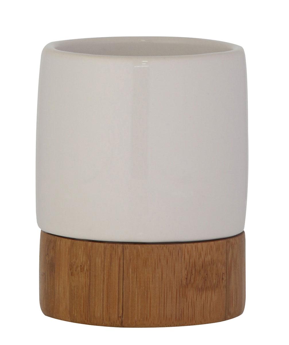 Стакан для ванной комнаты Axentia Bonja Premium, цвет: белый, бук122331Коллекция Bonja Premium - это сочетание экологически чистого бамбука, устойчивого к высокой влажности и элегантной натуральной и изящной белой керамики. Отлично сочетается с другими аксессуарами из коллекции Bonja Premium.